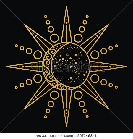 Sun and moon logo. Astronomical icon. Astrological symbol. Black and gold lines … – Lina Jssn 🦋