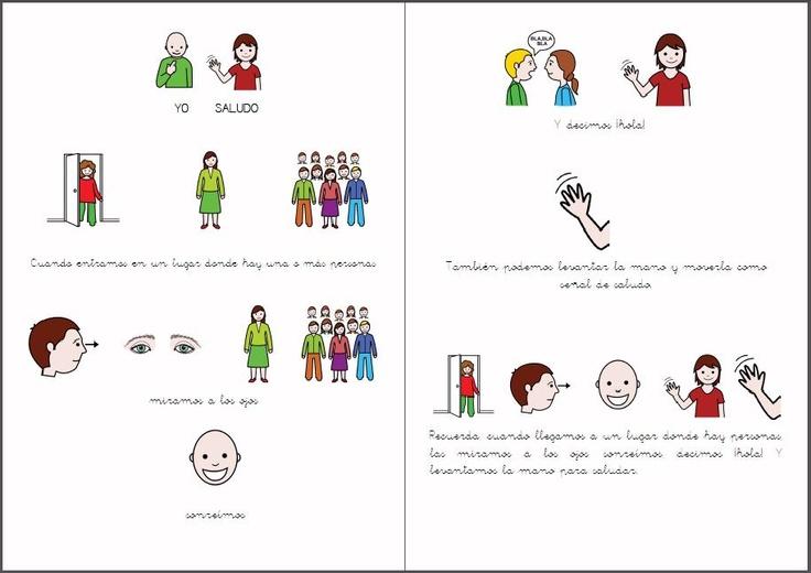 MATERIALES _ Aprendemos a saludar y a despedirnos.    Fichas para trabajar las habilidades sociales relacionadas con el saludo y la despedida.     http://arasaac.org/materiales.php?id_material=124