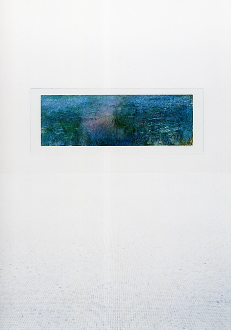 Chichu Art Museum by Tadao Ando. Ando designed the rooms for specific artworks. Shown here is one of Claude Monet's Waterlily paintings.
