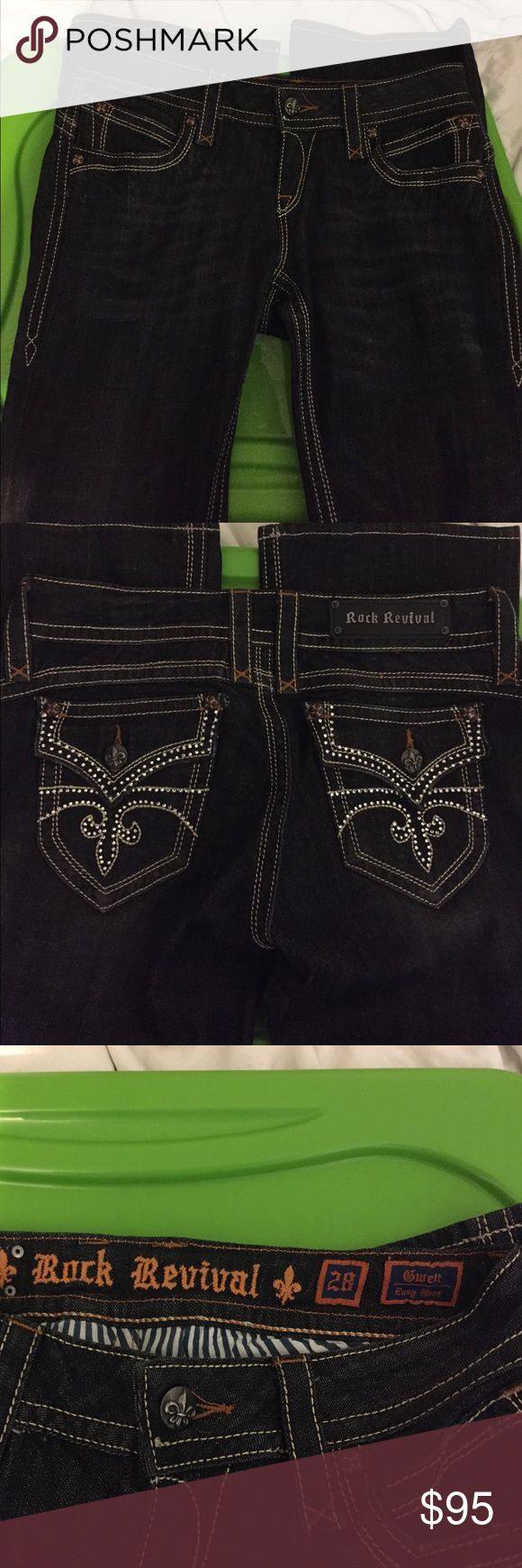 Rock Revival Jeans Brand new w/o tags these are so stiff they have to be new beautiful they were sized wrong as an 18 they are a 28 Gewn Easy Boot Rock Revival Jeans Boot Cut
