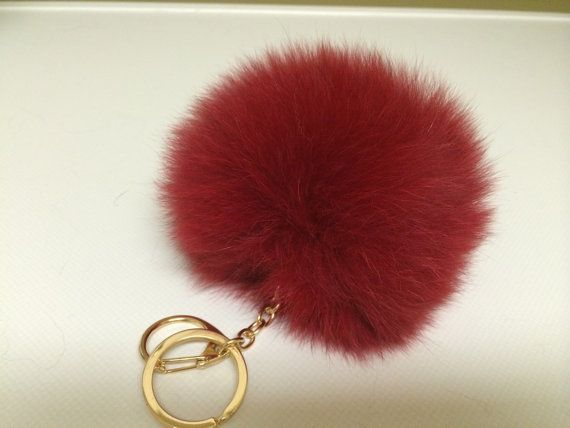Red Fox Fur Pom Pom Ball Bobble - Keychain Keyring Bag Charm - Hardware