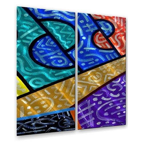 'Abstract 55' by Patrick Murphy 2 Piece Painting Print Plaque Set
