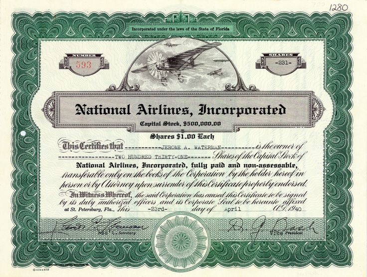 National Airlines Inc., St. Petersburg, Florida, Aktie von 1940 + SELTENST!