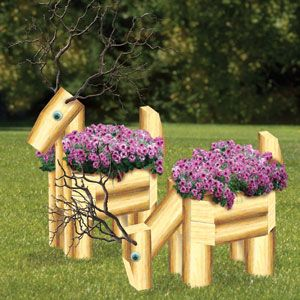 "Landscape Timber Deer Planters Plan. Fun and simple projects that any nature lover will surely want to have decorating their yards or patios. 2 Designs. 30"" Tall Parts Req'd: Eyes (2 per deer) P-123   Plan #2347  $12.95  ( crafting, crafts, woodcraft, pattern, woodworking, yard art, landscape timber, planter ) Pattern by Sherwood Creations"