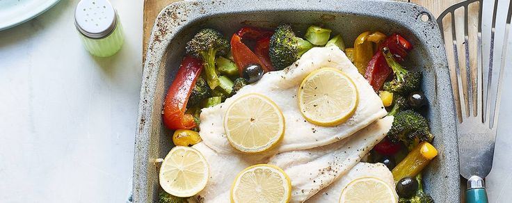 Fillet of fish traybake with peppers and broccoli