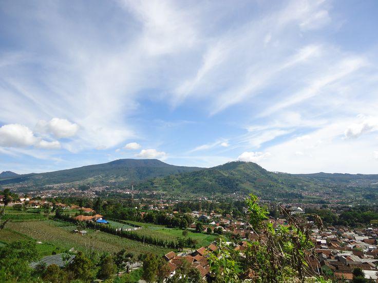 City view from Mount Batu, bandung, West Java.