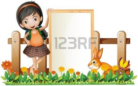 Ilustração de uma menina que está ao lado de um quadro vazio com um coelho em um fundo branco photo