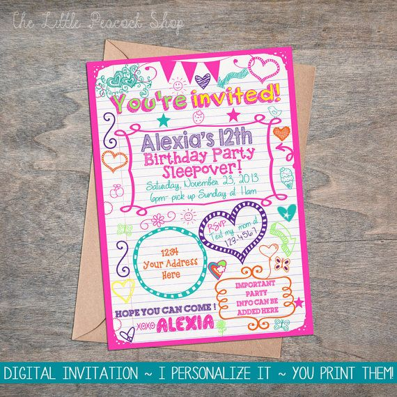 Girls Slumber Party Invitations Neon