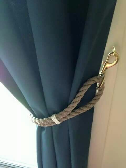 Nautical inspired tie back. Looks like a design for a masculine room. www.kolarosedesigns.com