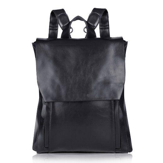 Vbiger Vintage Dame Leder Rucksack Schulrücksack backpack daypack (Schwarz)