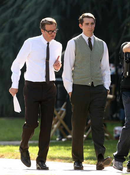 Lee Pace and Colin Firth on the set of A Single Man, 2007.