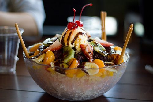 Ice Cream Sundae With Everything But The Kitchen Sink On
