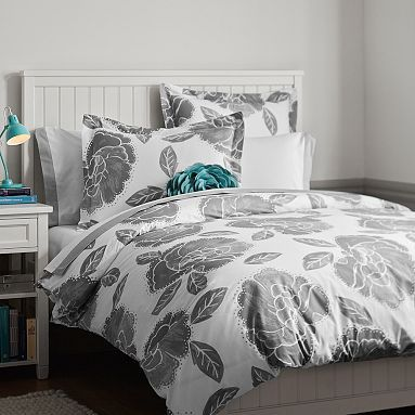 Floral Dot Duvet Cover + Sham, Light Gray $53 + 17/pillow case