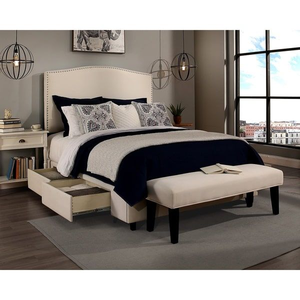 Republic Design House Newport Ivory Upholstered Queen-size Headboard, Storage Bed and Bench