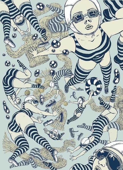 #swim #pattern #blue #illustration #swimmers #graphic #retro #makemepattern http://makemepattern.tumblr.com/