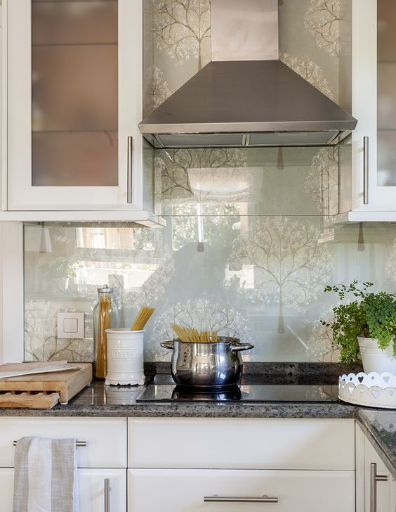 Glass Over The Wallpaper Backsplash Will Add A More Modern Feel To