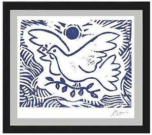 "Pablo Picasso Original Limited Ed. Print ""Blue Dove of Peace"" Hand-Signed w/COA"