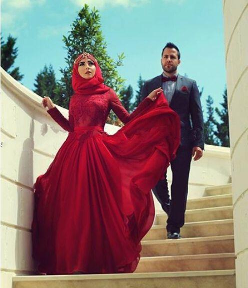 Cheap Dark Red Long Sleeves Lace Floor Length Custom Make Long Formal Bridal Design Robe De Mariee Muslim Hijab Wedding Dress Free Measurement