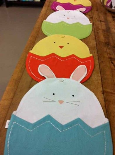 Super cute Easter table top decor. Use as a placemat or button together to make a runner. At Orson Gygi.