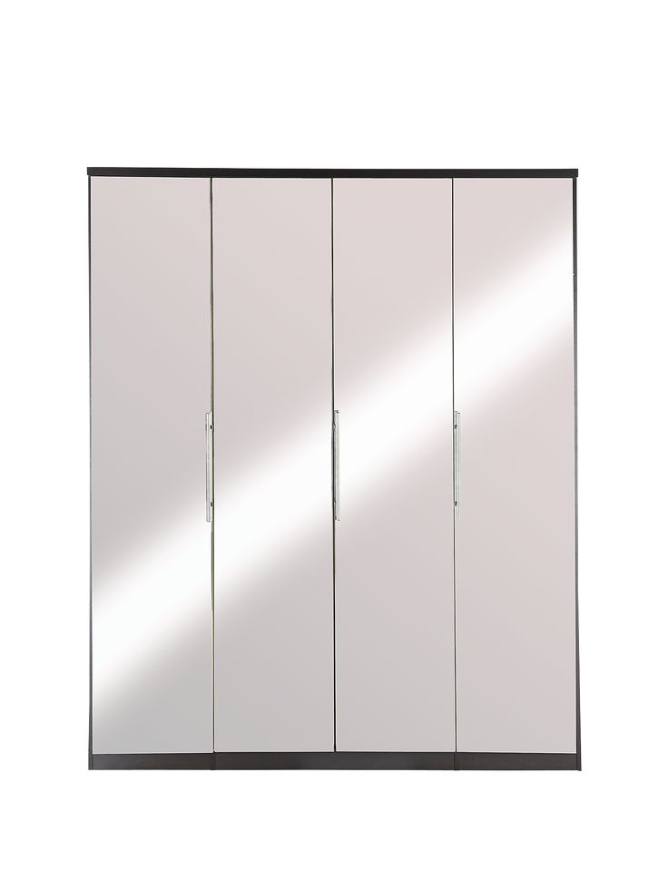 Prague 4-door Wardrobe in Black or White with Mirrored Doors and Internal Chest of 3 DrawersA best seller just got better - the popular Prague range is back in a brand new style that's all about a light-enhancing shine!This wardrobe comes in a trendy choice of dramatic black or bedroom-brightening white, and each one is given added wow by the mirrored doors that splash light and depth into your space.Sleek metal bar handles are a perfect match for the mirrors, while soft-close hinges mean...