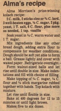 Kolach Recipe Clipping