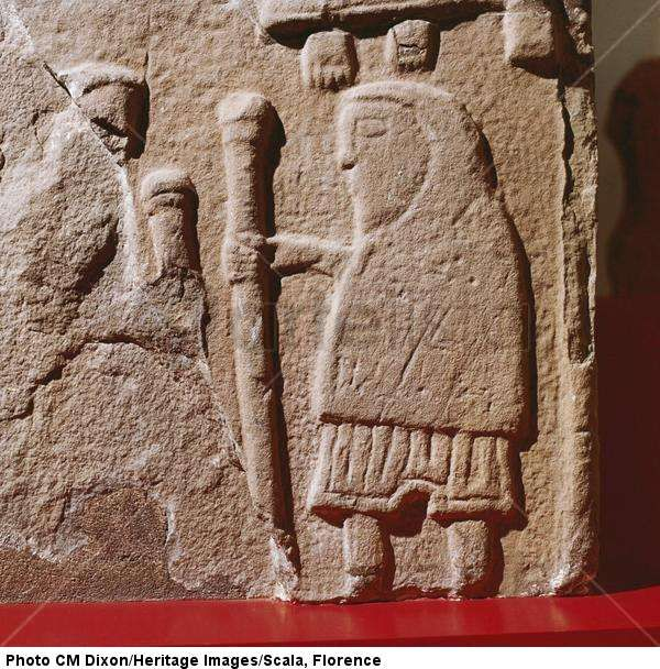 A Pict with hooded cloak and Pictish trousers, St.Vigeans, Scotland, c. 8th - 9th century > Celtic art