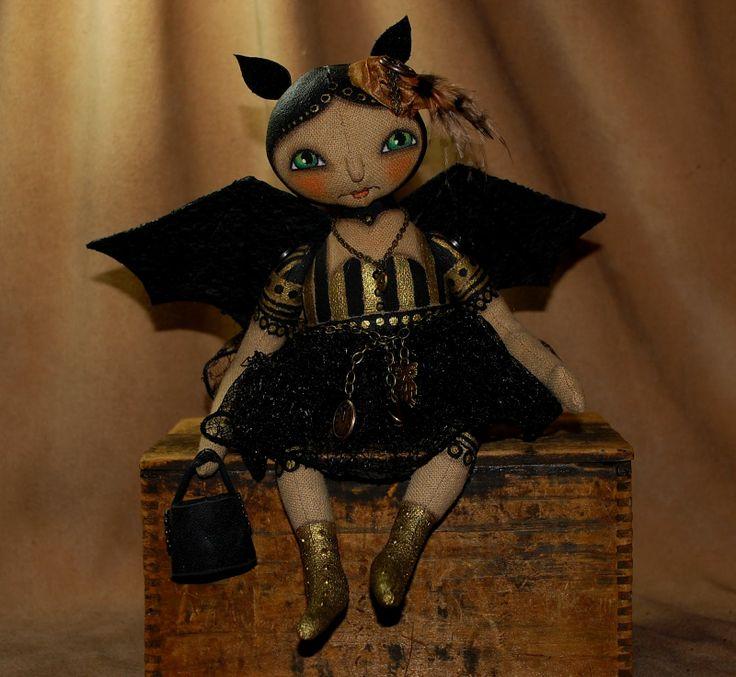 Steampunk witch doll | batrone steampunk primitive folk art bat doll steampunk gothic ...