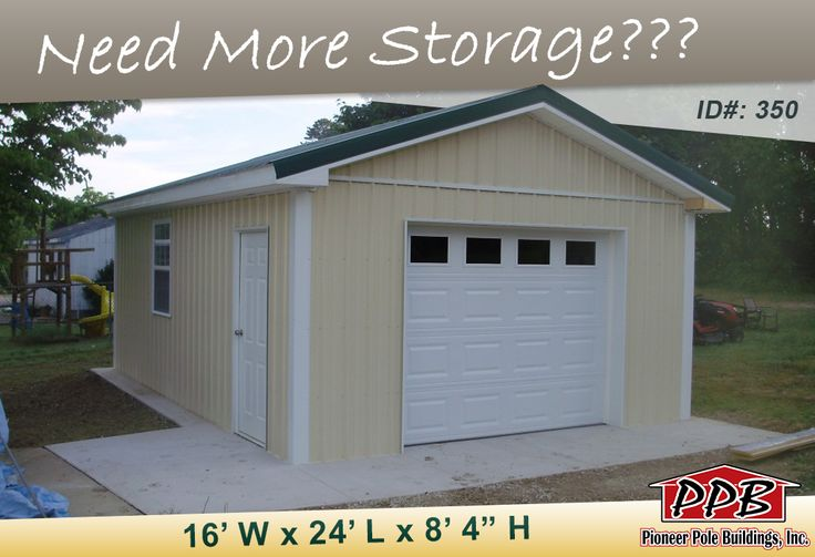 "Do You Need More Storage?  Here is a Garage for YOU! Dimensions: 16' W x 24' L x 8' 4"" H 16' Standard Trusses, 4' on Center, 4/12 Pitch  Colors: Siding Color: Beige Roofing Color: Ivy Trim Colors: Brite White & Ivy  Openings: (1) 9' x 7' Residential Garage Door with (4) Colonial Windows (1) 3' x 4' Single-Hung, Insulated Window with Screen % Grids (1) 3068 6-Panel Entry Door  Overhangs: Eaves & Gables: 1' Soffit: White Vinyl  Check Out Our Website…"