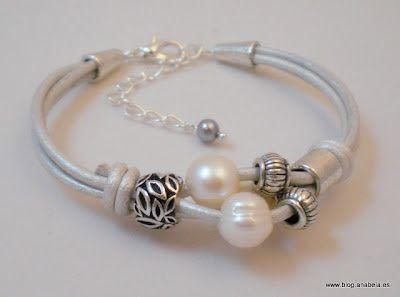Large hole beads and Leather bracelet