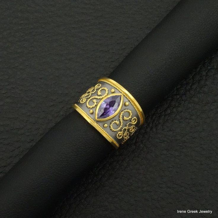 AMETHYST CZ BYZANTINE 925 STERLING SILVER 22K GOLD & BLACK RHODIUM PLATED RING #IreneGreekJewelry #Band