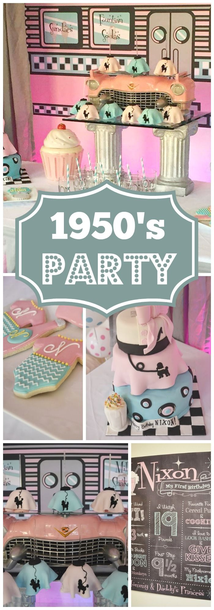 What a fun 1st birthday with a retro 50's soda shoppe look! See more party ideas at CatchMyParty.com!