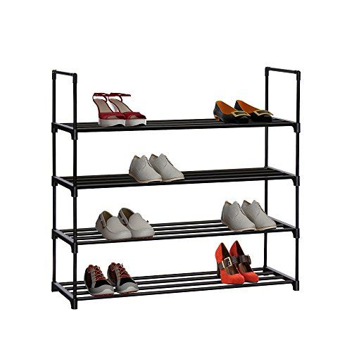 HOME BI 4 Tier Shoe Rack, 20 Pairs Shoes Organizer Closet for Shoe Storage (Black) #HOME #Tier #Shoe #Rack, #Pairs #Shoes #Organizer #Closet #Storage #(Black)