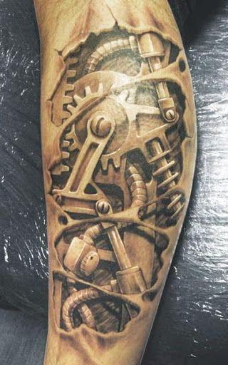 Biomechanical 3D Tattoo by David Klvac