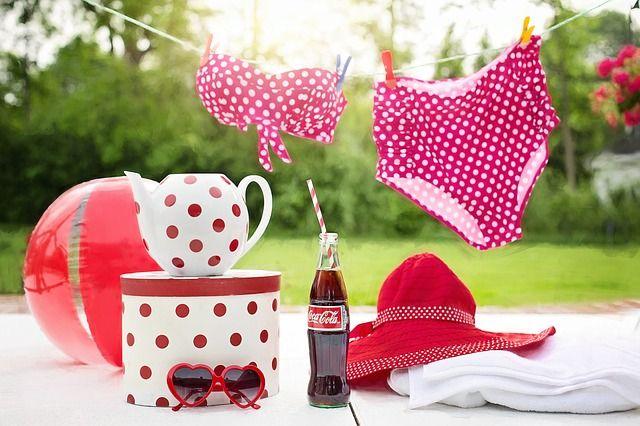 수영복, 코카콜라, 콜라, 병, 간단한 음식물, 새로고침, 정장 수영, 여름, 휴양, 여가, 포도주