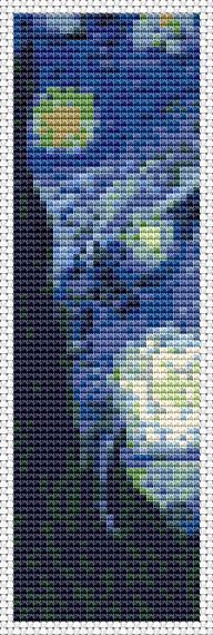 The Starry Night by Vincent van Gogh - Bookmark Cross Stitch PATTERN