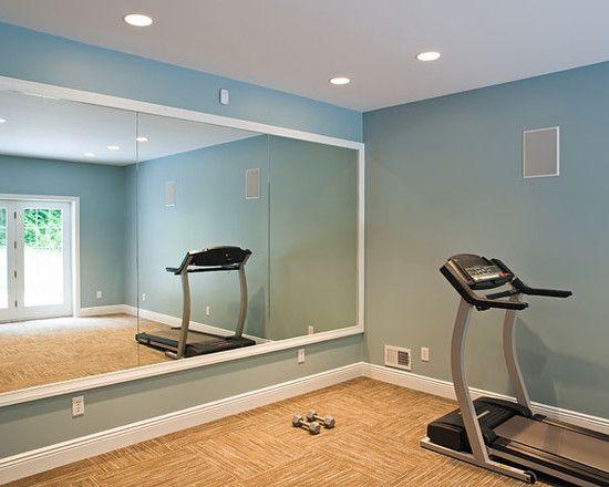 Blue ceiling color, pale walls, faux wood floor foam tiles.... | Think  skinny! | Pinterest | Gym mirrors, Faux wood flooring and Ceiling color - Blue Ceiling Color, Pale Walls, Faux Wood Floor Foam Tiles