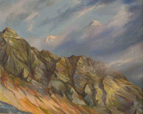 Скалы в облаках, 40х50, холст. масло