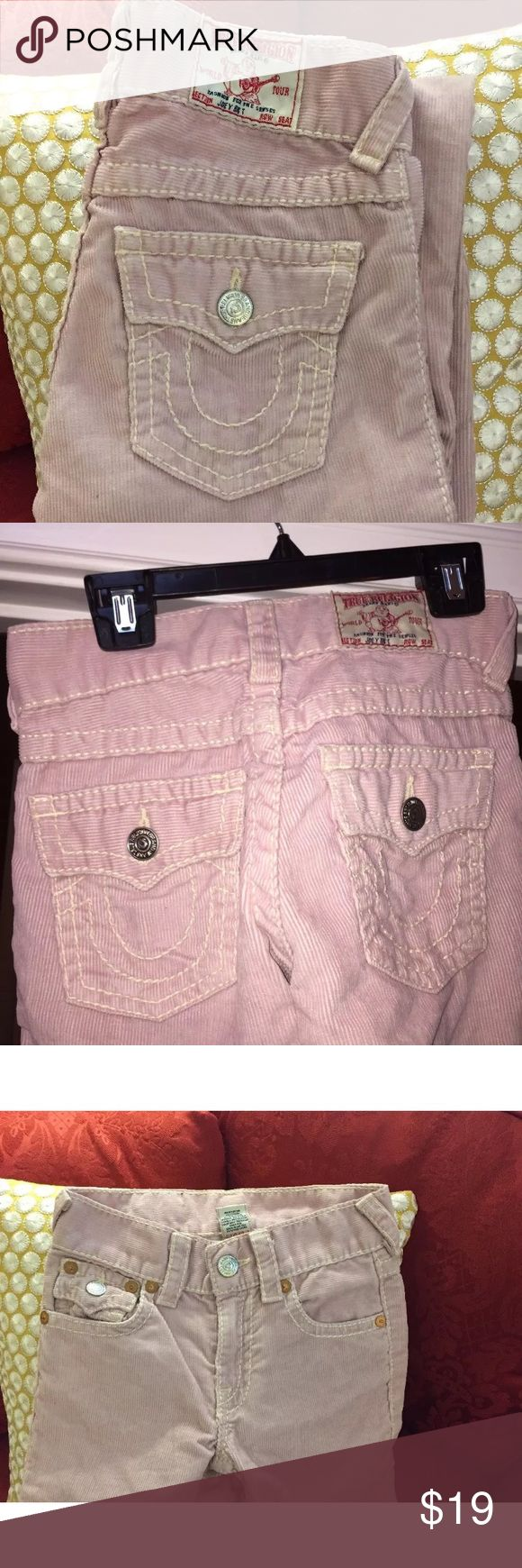"True religion girls jean corduroys size 10 These are real cute flare leg pale pink true religion girls cords inseam 25"" approx in excellent preowned condition True Religion Bottoms Jeans"