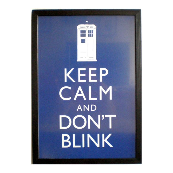 """Keep Calm poster framed print 13x19 Keep Calm and don't blink Dr Who print black frame 13x19"""" poster delicate frame 33x48cm solidwoodshop"""
