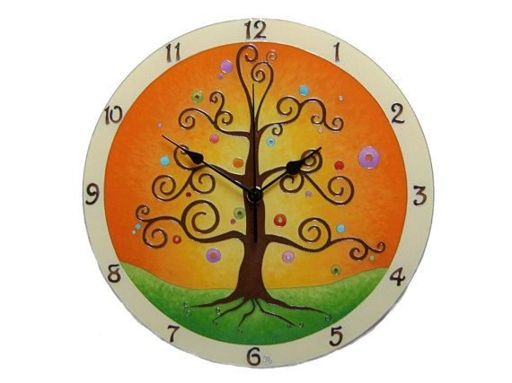 Tree of Life Large Wall Clock,  Silent, Hand Painted, Glass wall clock