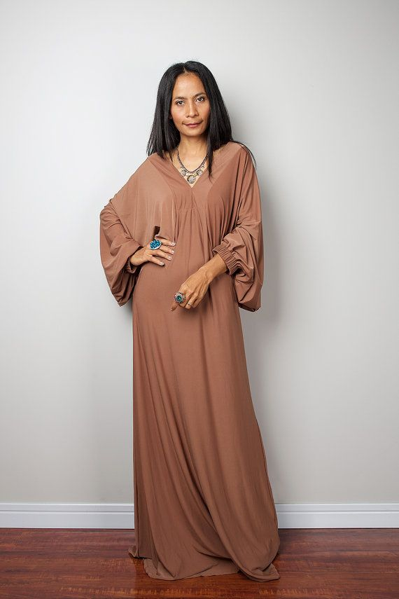 Robe - robe Maxi - brun Caramel Funky Brown robe : Funky élégante Collection no.2s
