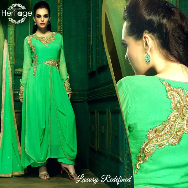 Spring Green Georgette Embroidered Salwar Kameez