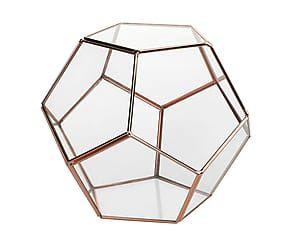 Terrarium in vetro e ottone Pentagono rame - 17x17 cm