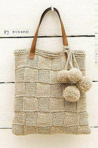 knitted bag with pom-poms