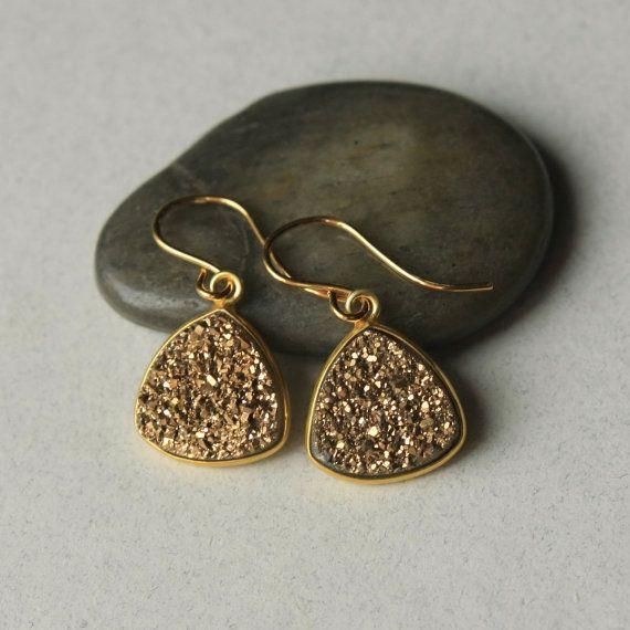 SALE Gold Druzy Earrings Druzy Jewelry Drusy by juliegarland