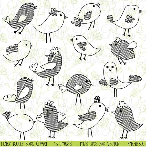 Aves de garabato Clip Art Clipart vectores dibujados por PinkPueblo