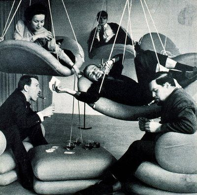 Another photo of these groovy floating chairs, Verner Panton late 1960s