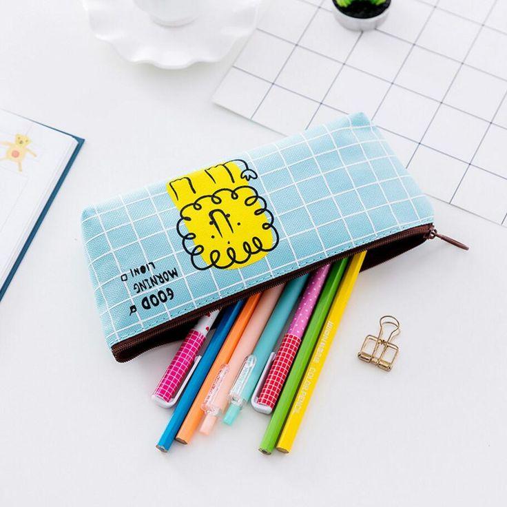 New Godd Morning Animal Cat/Owl/lion/Fox Canvas School Pencil Cases Stationery Pencilcase Kawaii Bag Girl Pencil Case For School