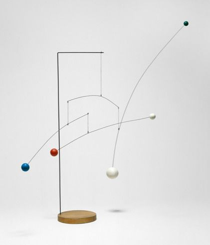 Untitled by Alexander Calder (1935) Guggenheim Museum, New York City. Untitled (1935) is representative of Calder's floor- and pedestal-based mobiles made in the early 1930s. Here, Calder uses wood, a material that had been absent from his work since the previous decade, in combination with wire and string.
