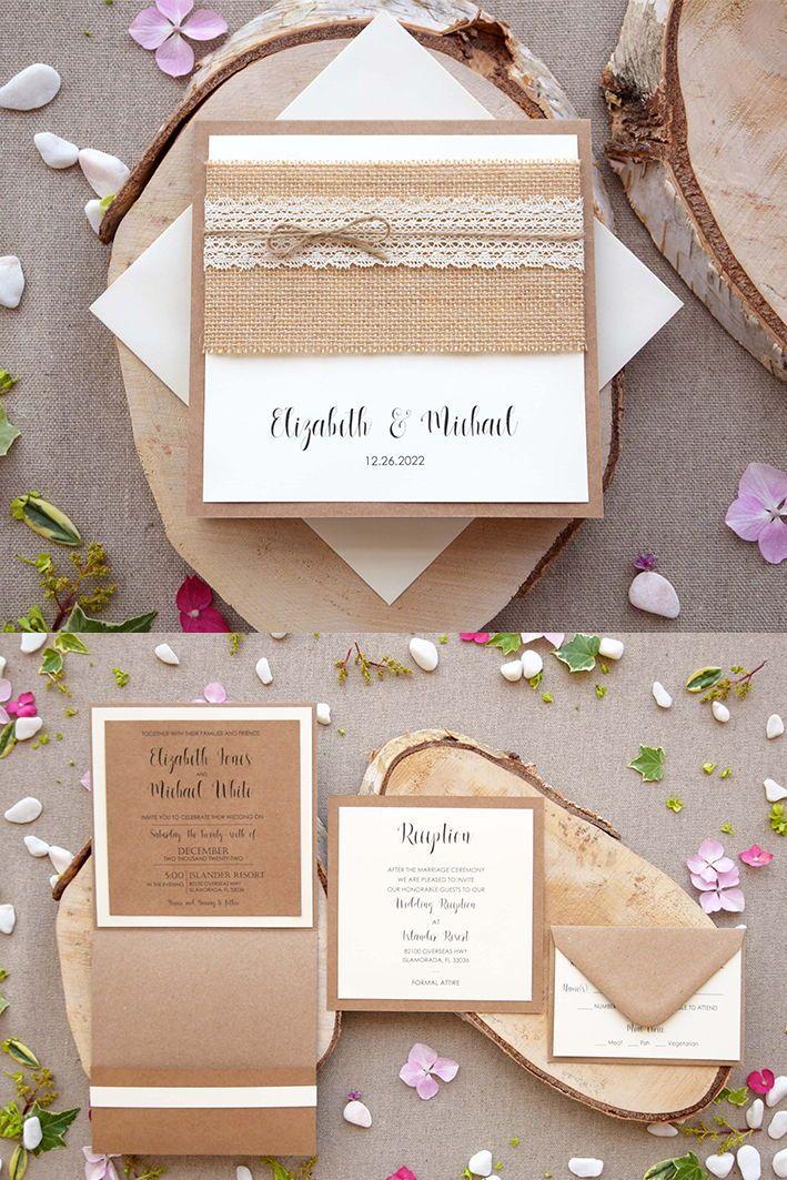 Burlap And Lace Wedding Invitations Pocket Wedding Invitations In 2020 Pocket Wedding Invitations Rustic Wedding Stationery Burlap Lace Wedding Invitations